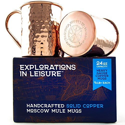 24 Ounce Handcrafted Moscow Mule Mug | 100% Solid Copper | Set of 2 | Available in Smooth or Hammered Finish
