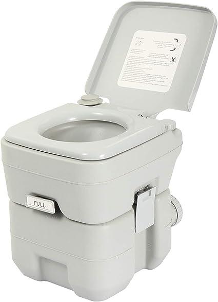 Amazon Com Jaxpety 5 Gallon 20l Flush Porta Potti Outdoor Indoor Travel Camping Portable Toilet For Car Boat Caravan Campsite Hospital Gray Sports Outdoors