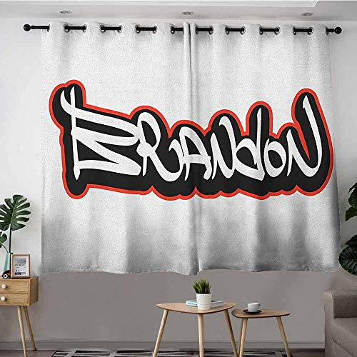 DGGO Custom Curtains,Brandon Urban Street Culture Hip hop Theme Lettering Individual Name Design,Great for Living Rooms & Bedrooms,W55x63L Vermilion Black and White