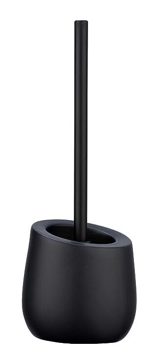 Wenko 23654100 Wc-Garnitur Badi Schwarz - WC-Bürstenhalter mit Silikonborsten und Randreiniger, Keramik, 13.5 x 38 x 13.5 cm