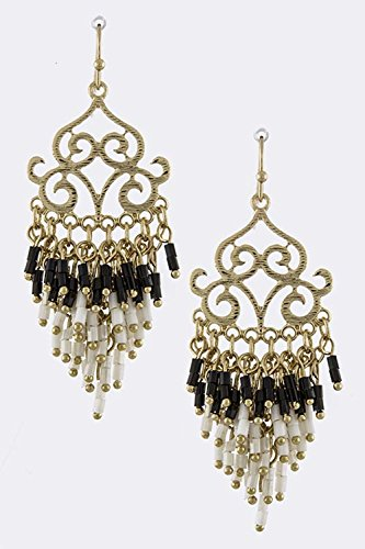TRENDY FASHION JEWELRY FILIGREE BEAD FRINGE EARRINGS BY FASHION DESTINATION | (Black/White)
