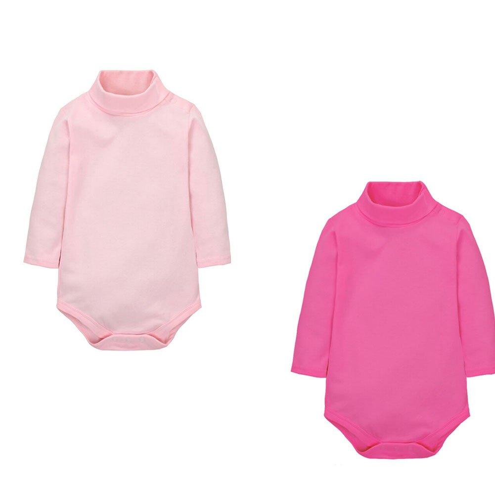 CuteOn 2 Packs Unisex Baby Romper - Polo Neck Long Sleeve - 100% Cotton - Infant Bodysuit Jumpsuit Royalblue + Beige 9 Months