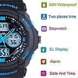 BesWLZ Kids Sports Watches Multi Function Waterproof Quartz Watch Wrist Dress Watch With LED Digital Alarm Stopwatch for Boy – Blue