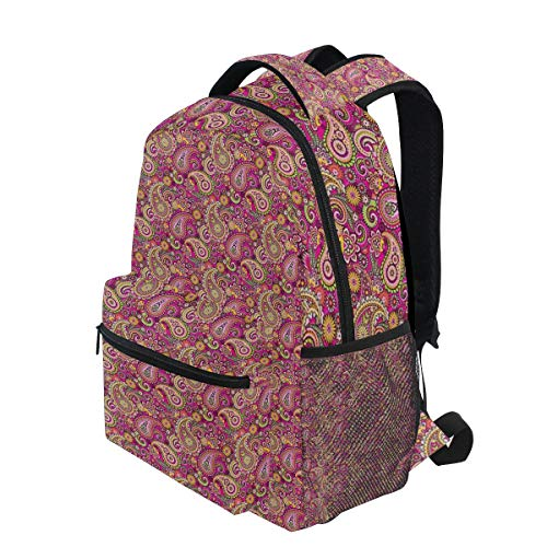 KVMV Asian Bohemian Middle Eastern Flourish Violet Blossom Lotus Spiritual Persian Lightweight School Backpack Students College Bag Travel Hiking Camping - Lotus Light Persian