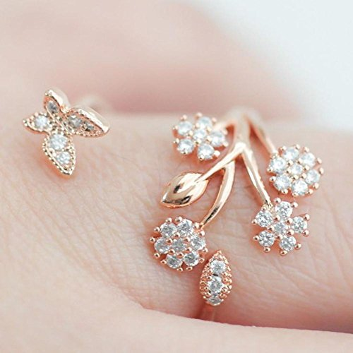 (Sinwo Women Fashion Beautiful Fashion Women butterfly flower Engagement Ring for Gift (Gold))