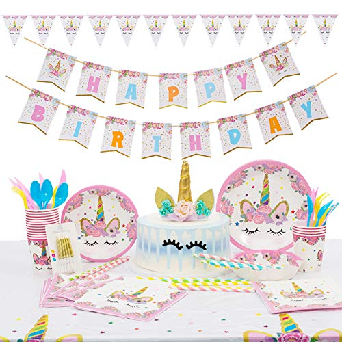 - Mpartido Unicorn Party Supplies Set Serves 16 Guests Unicorn Birthday Party Supplies Includes Happy Birthday Banner, Table Cloth, Plates, Set of Cutlery, Napkins, Cups, Straws, Headbands, Candles,Unic