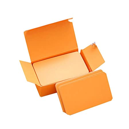 fablcrew – Juego de 100 tarjeta blanca en blanco Tarjeta de memoria blanca para Word Graffiti DIY Tarjeta vacío papel Kraft 9 * 5CM naranja