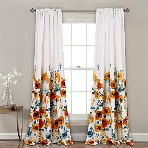 Lush Decor 16T002249 Percy Bloom Window Curtain Panel Pair, 84