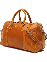 Floto Luggage Trastevere Duffle Leather Weekender, Orange, Medium