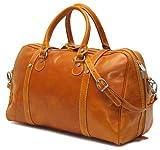 Floto Luggage Trastevere Duffle Leather Weekender, Orange, Medium