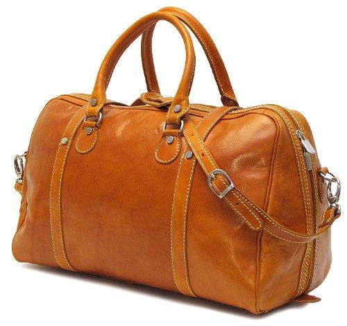 - Floto Luggage Trastevere Duffle Leather Weekender, Orange, Medium
