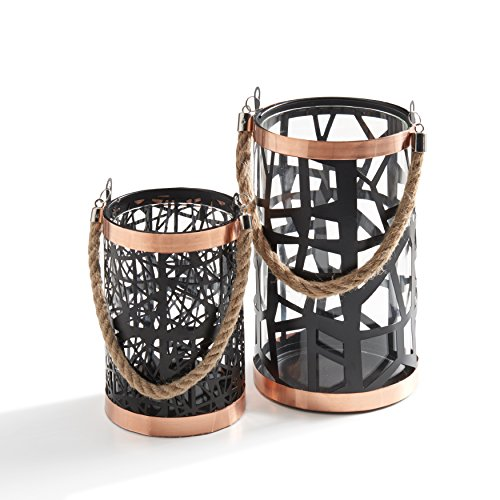 Danya B. Set of 2 Filigree Hurricanes with Glass Insert, Rose Gold Trim and Rope Handle