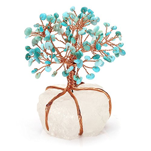 Jovivi Natural Amazonite Tree Crystal Quartz Money Tree Feng Shui Tree of Life Ornament Reiki Crystals Office Table Decoration for Living Room Wealth and Luck