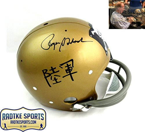 Throwback Helmet Rk (Roger Staubach Autographed/Signed Navy Jolly Roger Throwback RK Helmet)
