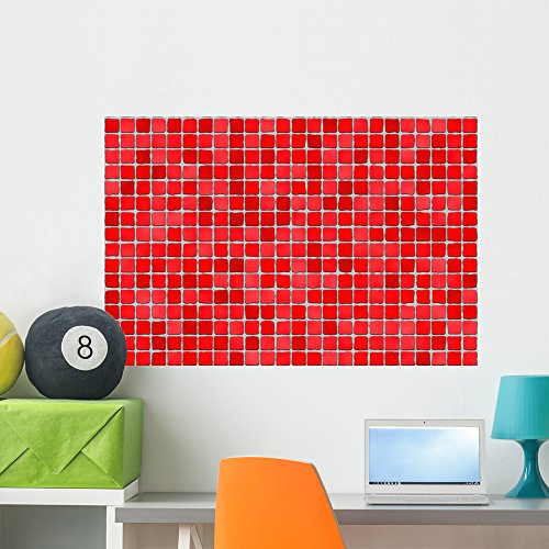 Wallmonkeys Red Tiles Mosaic Wall Decal Peel and Stick Graphic WM176990 (36 in W x 24 in H) -