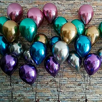 "5 Pcs 5//12//18/"" Metallic Chrome Shiny Latex Balloons Wedding Birthday Party Decor"
