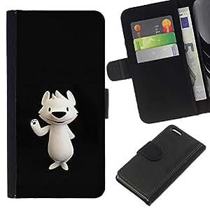 KLONGSHOP // Tirón de la caja Cartera de cuero con ranuras para tarjetas - Nariz del oso polar de dibujos animados Negro - Apple Iphone 5C //
