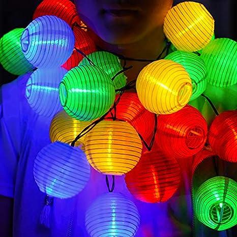 Kaiercat al aire libre luces solares de cadena, Linternas Luces solares de exterior, Linterna de jardín impermeable para fiesta, Bodas, Navidad, ...