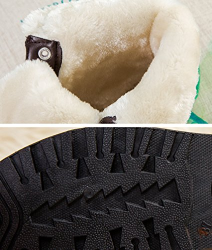 Chaussures Bottines Cuir Plates Martin Boots Antidérapage Noir Chaude Neige De Femme Laçage Pu Hiver Pour Bottes Baymate BqRxPwIW
