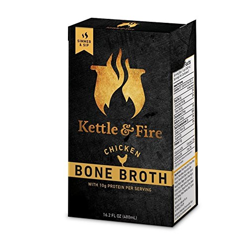 Chicken Bone Broth Soup by Kettle and Fire, Pack of 1, Keto Diet, Paleo Friendly, Whole 30 Approved, Gluten Free, with Collagen, 7g of protein, 16.2 fl oz