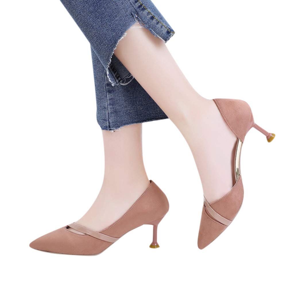 kaifongfu Womens Fashion Pointed Toe High Heels Women Wild Stiletto Suede Hollow Sandals