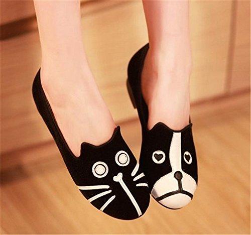 Baqijian Women Flats Dog Cat Flats Women Shoes Loafers Casual Cartoon Suede Flats Shoes Zapatos Mujer One Dog One Cat - Shop Online Geelong Cats