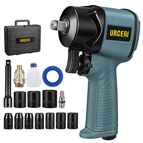 """URCERI Impact Wrench Air 1/2"""" Super Duty Pneumatic Tool Power Composite Impact Wrench, High Torque, Square Drive, 10Pcs Driver Impact Sockets"""