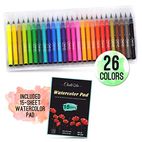 Watercolor Brush Pens | Set of 26 with 15-Sheet Paper Painting Pad | Water Color Paint Markers with Real Flexible Soft Nibs | 100% Non-Toxic | Premium Paint Pens for Kids and Adults by Chalkola by Chalkola
