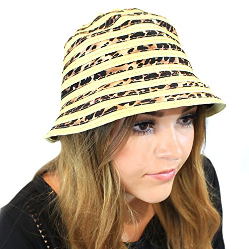 August Hats Striped Animal Print Cloche One Size (Natural)
