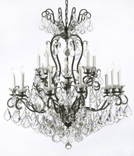 Wrought Iron Crystal Chandelier Lighting W38″ H44″