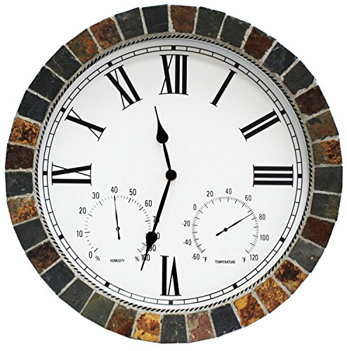Danny's World Real Textured Ceramic Rock Tile 15 Inch Indoor/outdoor Clock with Temperature, Time, and Humidity - Roman Numerals - Clock Thermometer Stone