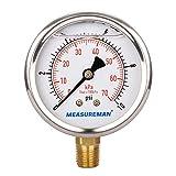 MEASUREMAN 2-1/2'' dial, 1/4''NPT Lower, Glycerin Filled Low Pressure Gauge, Stainless Steel case, Brass Inside, 0-10psi/kpa (Tamaño: 0-10 psi/kpa)