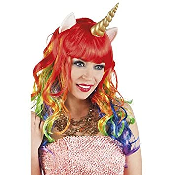 Peluca, diseño de unicornio con orejas y cuerno de látex