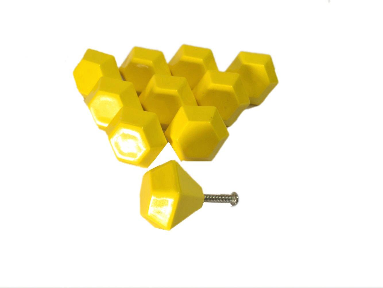 Lacyan 10/x 30/mm in ceramica a forma di diamante manopola cassettiera maniglie per cameretta Yellow