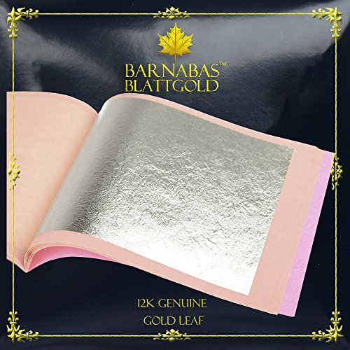 Genuine Gold Leaf Sheets 12k - by Barnabas Blattgold - 3.4 inches - 25 Sheets Booklet - Loose Leaf ()