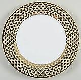 """Ciroa Luxe Lattis Gold Porcelain Dinner Plates 10 5/8"""" Diameter Set of 4"""