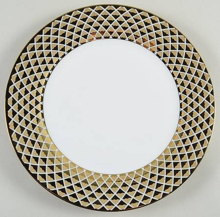 Ciroa Luxe Lattis Gold Porcelain Dinner Plates 10 5/8