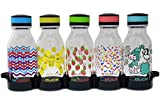 reduce WaterWeek Kids Reusable Water Bottle Set with Fridge Tray - 5 Flask Pack, 14oz - Cute and Colorful Berry Fun Design - BPA Free, Leak-Proof Twist Off Cap - Perfect for Lunchboxes and Road Trips