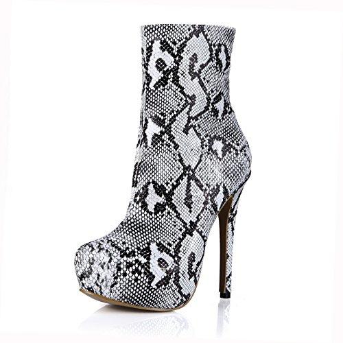 peau produit la heels Démarrage Mesdames Boot femme blanc High maturité de de nouveau serpent mi boîtes qpp0Ax8fn