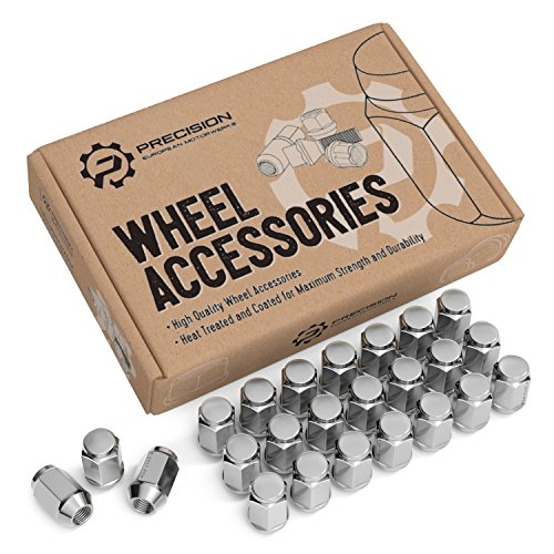 24pc Chrome Silver Bulge Lug Nuts 1/2