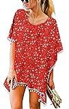 OLRAIN Women Pompom Trim Chiffon Tassel Swimsuit Stylish Beachwear Bikini Cover up (X-Large, SRed Flower)