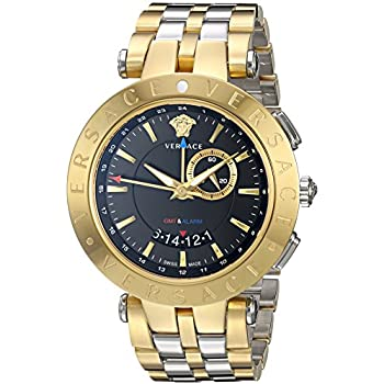 Versace Mens V-Race GMT Alarm Yellow Gold/Stainless steel Watch