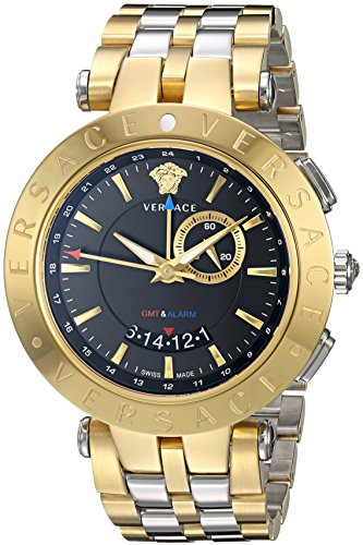 - 51ayUHz 2BmTL - Versace Men's V-Race GMT Alarm Yellow Gold/Stainless steel Watch