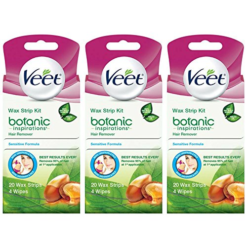 Veet Ready To Use Wax Strip Kit 20's(Bikini-Underarm-Face) (3 Pack)