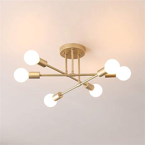 Mengzhu Michelle 6 Head Sputnik Chandelier Semi Flush Mount Satellite Ceiling Light Mid Century Modern Pendant Light For Bedroom Living Room Dining