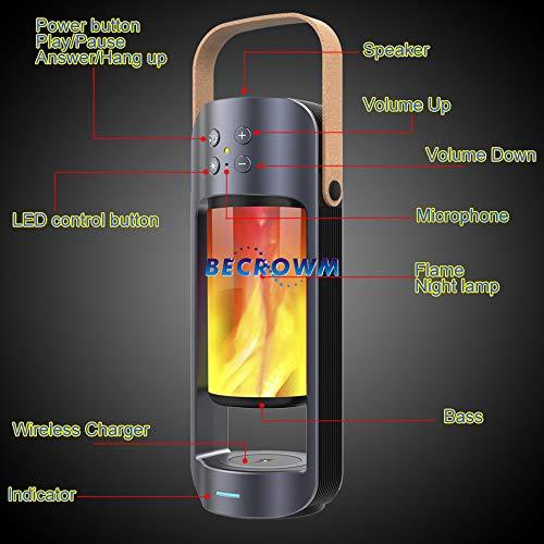 BECROWM EU, Altoparlante Portatile Bluetooth Stereo Senza Fili con Fiamma LED Luce Notturna, Straordinario Supporto per Bassi TWS SD/USB Plug & Play, Risposta Vivavoce per telefoni iOS e Android