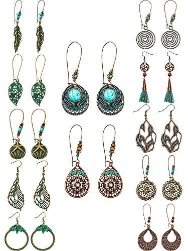 12 Pairs Fashion Metal Vintage Earrings Set with Dangle Pendant Tassel Earrings Boho Retro Ear Stud Earrings Drop Hook Lightweight Statement Earrings for Women Girls (Style B)