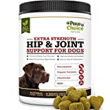 Paw Choice Dog Joint Supplement Chews - All Natural Glucosamine for Dogs with Chondroitin, MSM, Organic Turmeric - Hip and Joint Support and Pain Relief - Made in USA, 120 Treats