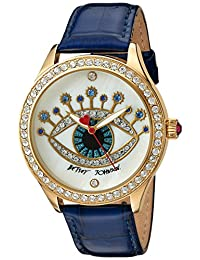 Betsey Johnson Women's Quartz Metal and Leather Automatic Watch, Color:Blue (Model: BJ00517-35)
