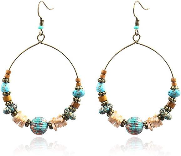 Turquoise Gold Bead Earrings Boho Geometric Disc Drop Festival